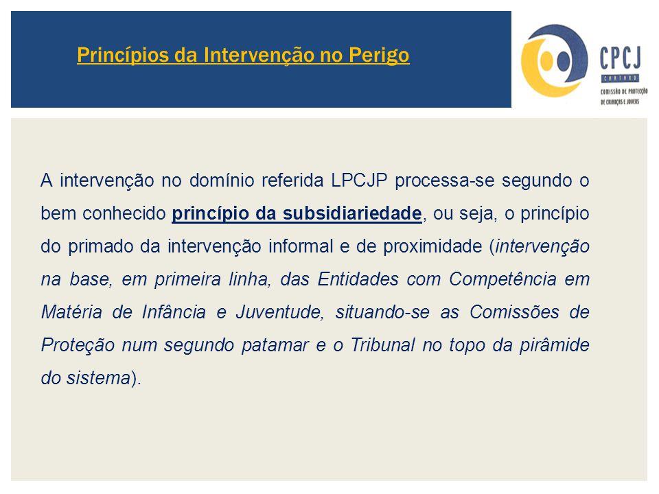 Princípios da Intervenção no Perigo A intervenção no domínio referida LPCJP processa-se segundo o bem conhecido princípio da subsidiariedade, ou seja,