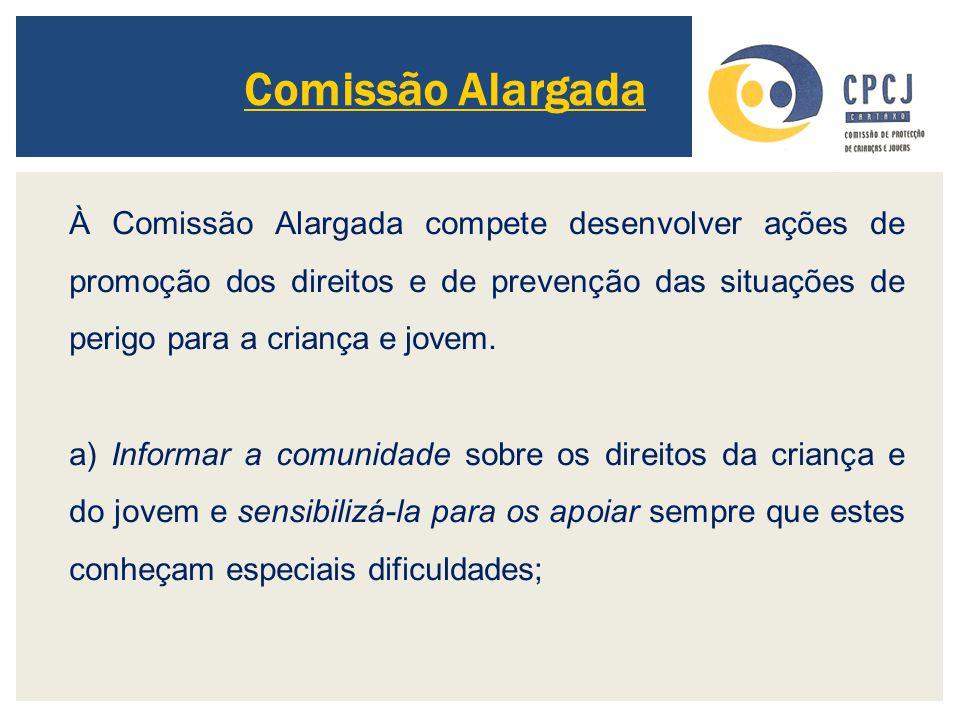 Comissão Alargada À Comissão Alargada compete desenvolver ações de promoção dos direitos e de prevenção das situações de perigo para a criança e jovem