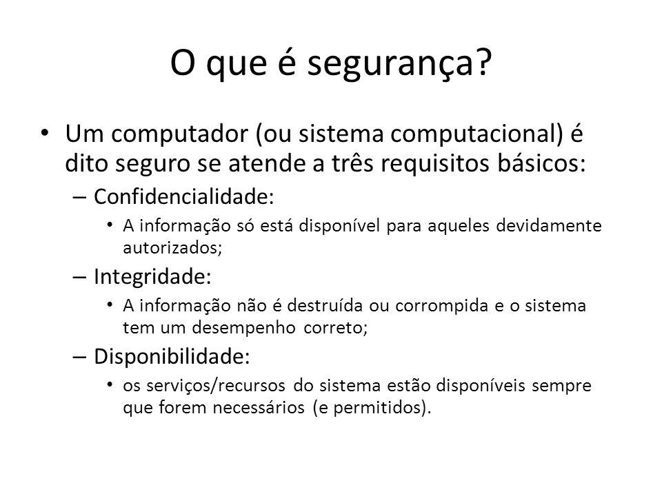 O que é segurança? Um computador (ou sistema computacional) é dito seguro se atende a três requisitos básicos: – Confidencialidade: A informação só es