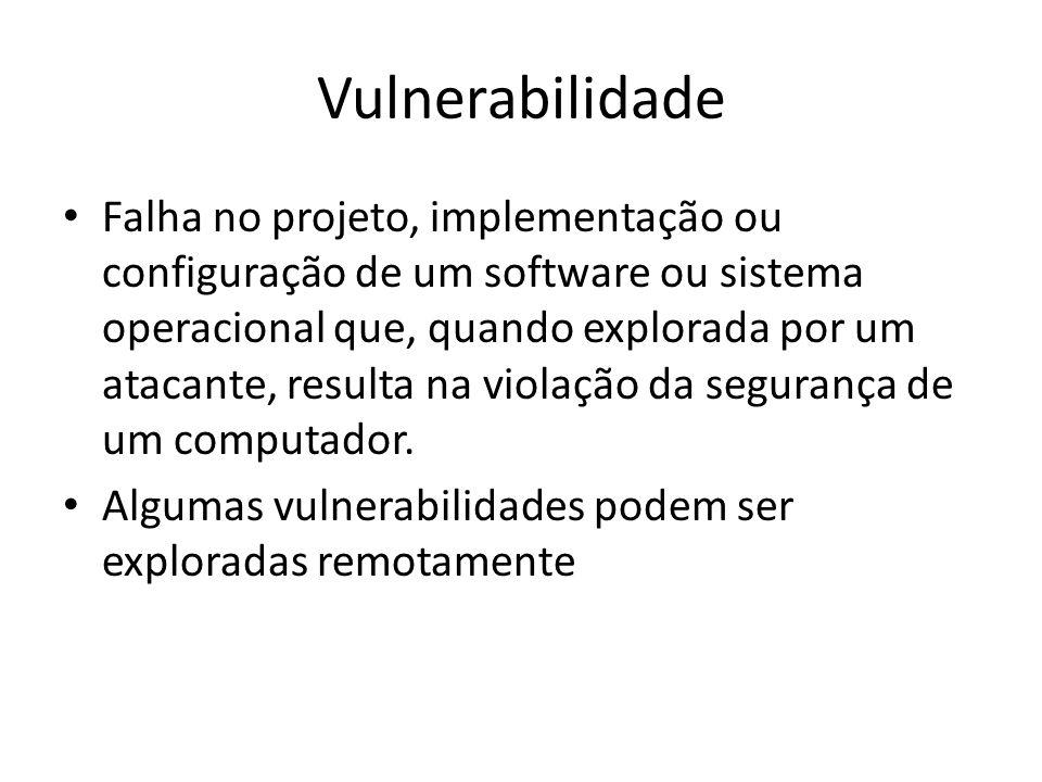 Vulnerabilidade Falha no projeto, implementação ou configuração de um software ou sistema operacional que, quando explorada por um atacante, resulta n