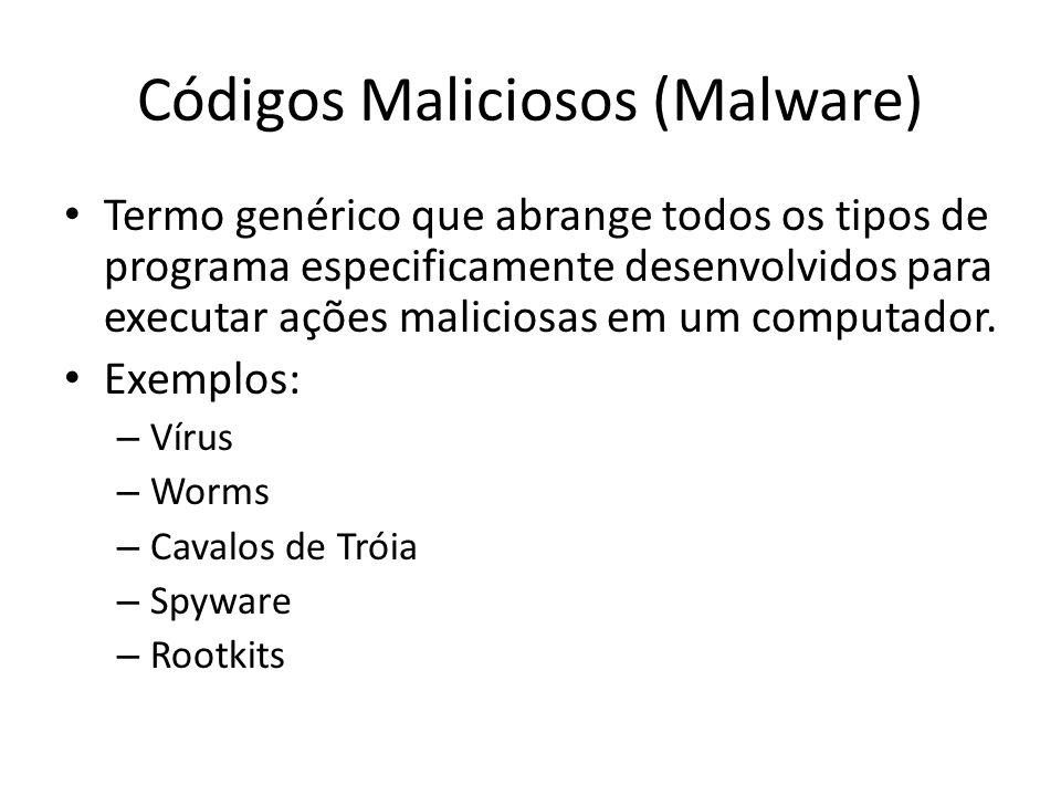 Códigos Maliciosos (Malware) Termo genérico que abrange todos os tipos de programa especificamente desenvolvidos para executar ações maliciosas em um