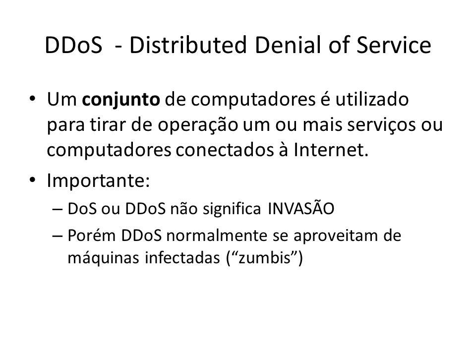 DDoS - Distributed Denial of Service Um conjunto de computadores é utilizado para tirar de operação um ou mais serviços ou computadores conectados à I