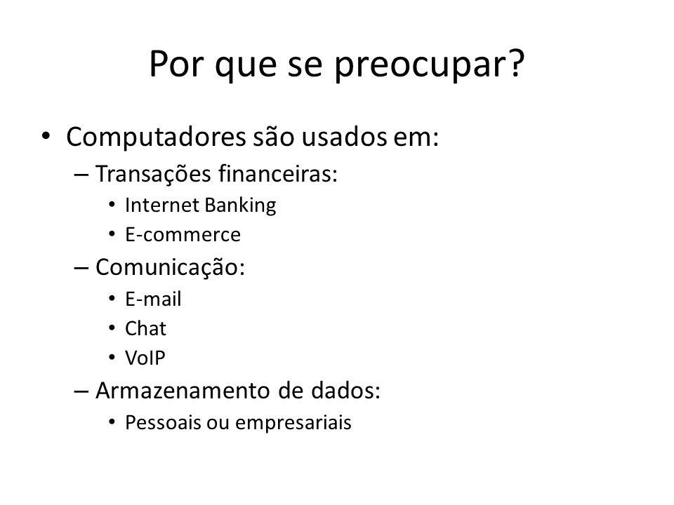Por que se preocupar? Computadores são usados em: – Transações financeiras: Internet Banking E-commerce – Comunicação: E-mail Chat VoIP – Armazenament
