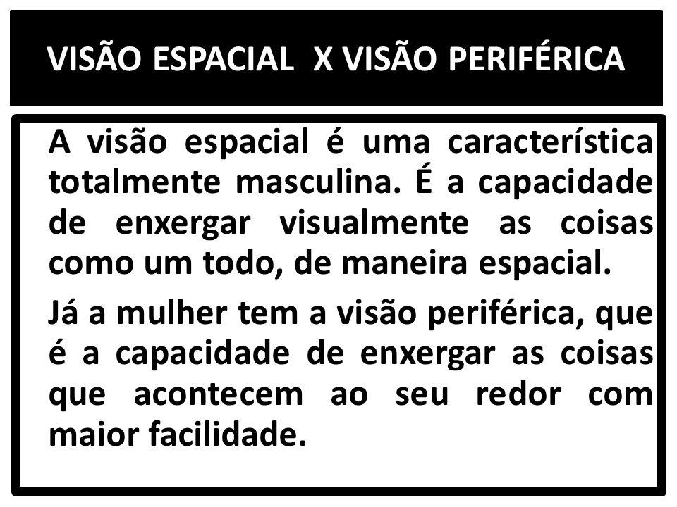 VISÃO ESPACIAL X VISÃO PERIFÉRICA A visão espacial é uma característica totalmente masculina.