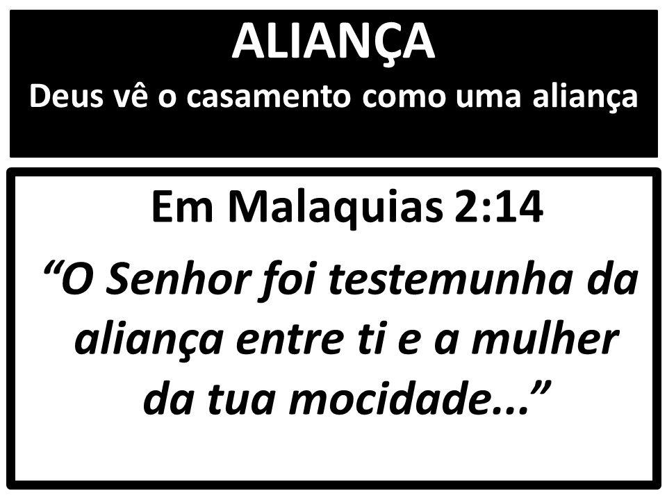 ALIANÇA Deus vê o casamento como uma aliança Em Malaquias 2:14 O Senhor foi testemunha da aliança entre ti e a mulher da tua mocidade...