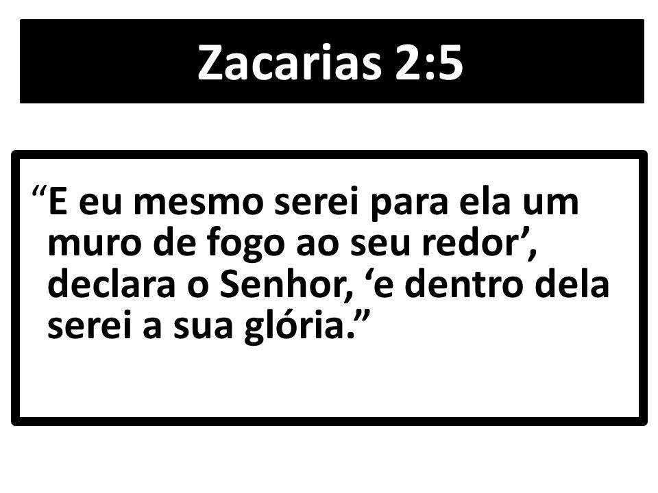 Zacarias 2:5 E eu mesmo serei para ela um muro de fogo ao seu redor', declara o Senhor, 'e dentro dela serei a sua glória.