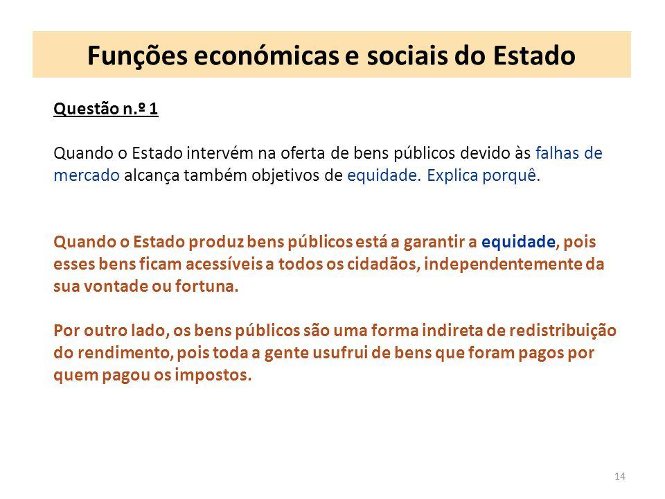 Funções económicas e sociais do Estado 14 Questão n.º 1 Quando o Estado intervém na oferta de bens públicos devido às falhas de mercado alcança também objetivos de equidade.