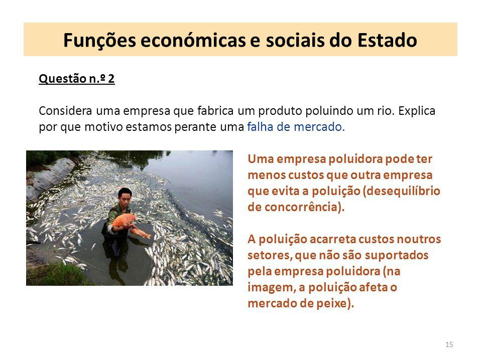 Funções económicas e sociais do Estado 15 Questão n.º 2 Considera uma empresa que fabrica um produto poluindo um rio. Explica por que motivo estamos p