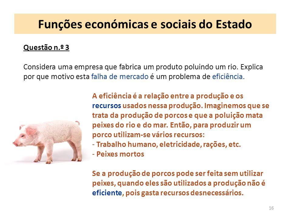 Funções económicas e sociais do Estado 16 Questão n.º 3 Considera uma empresa que fabrica um produto poluindo um rio.