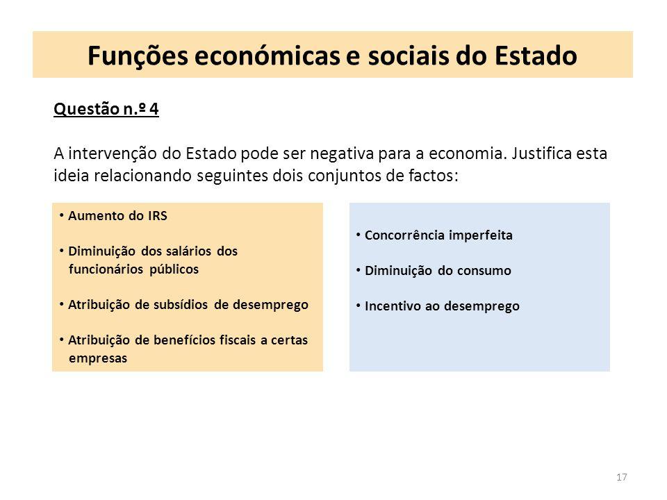 Funções económicas e sociais do Estado 17 Questão n.º 4 A intervenção do Estado pode ser negativa para a economia. Justifica esta ideia relacionando s
