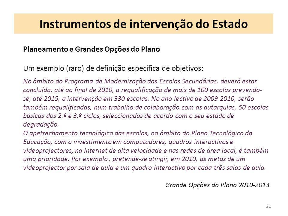 Instrumentos de intervenção do Estado 21 Planeamento e Grandes Opções do Plano Um exemplo (raro) de definição específica de objetivos: No âmbito do Pr