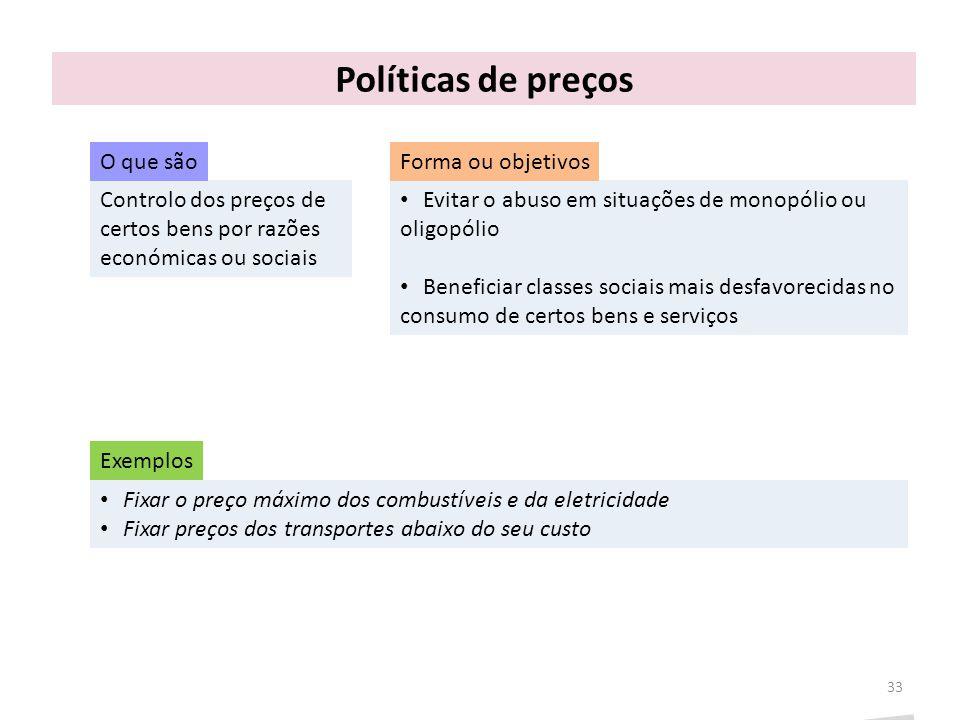 Políticas de preços Controlo dos preços de certos bens por razões económicas ou sociais 33 Evitar o abuso em situações de monopólio ou oligopólio Bene