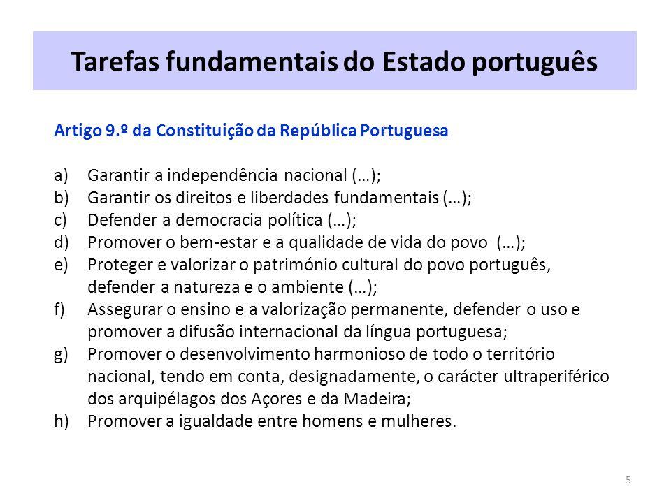 Tarefas fundamentais do Estado português 5 Artigo 9.º da Constituição da República Portuguesa a)Garantir a independência nacional (…); b)Garantir os direitos e liberdades fundamentais (…); c)Defender a democracia política (…); d)Promover o bem-estar e a qualidade de vida do povo (…); e)Proteger e valorizar o património cultural do povo português, defender a natureza e o ambiente (…); f)Assegurar o ensino e a valorização permanente, defender o uso e promover a difusão internacional da língua portuguesa; g)Promover o desenvolvimento harmonioso de todo o território nacional, tendo em conta, designadamente, o carácter ultraperiférico dos arquipélagos dos Açores e da Madeira; h)Promover a igualdade entre homens e mulheres.