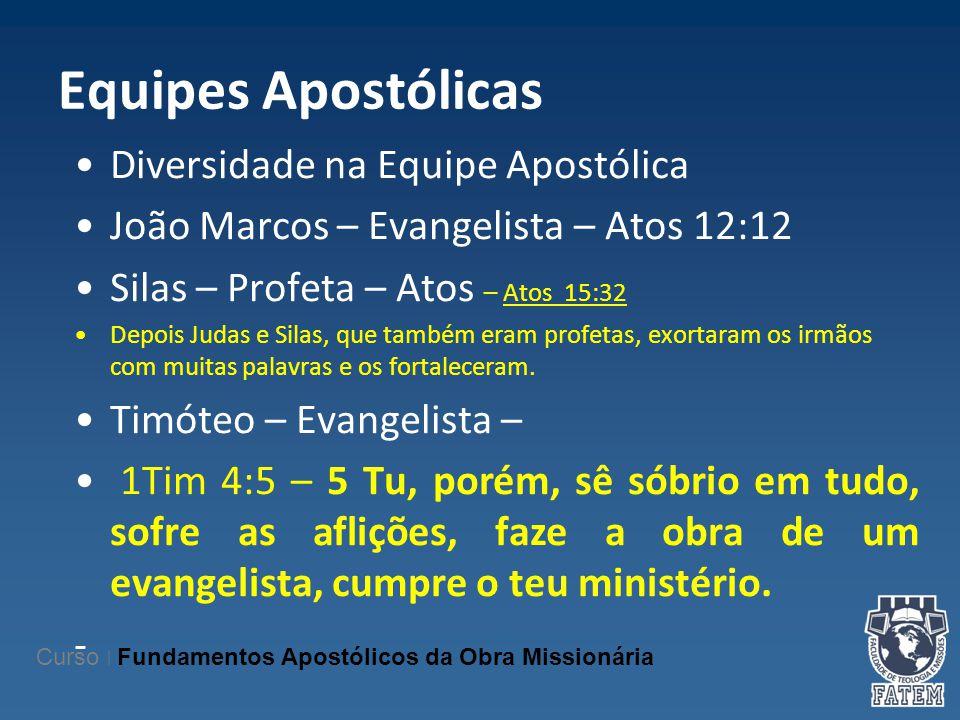Equipes Apostólicas Diversidade na Equipe Apostólica João Marcos – Evangelista – Atos 12:12 Silas – Profeta – Atos – Atos 15:32 Depois Judas e Silas,