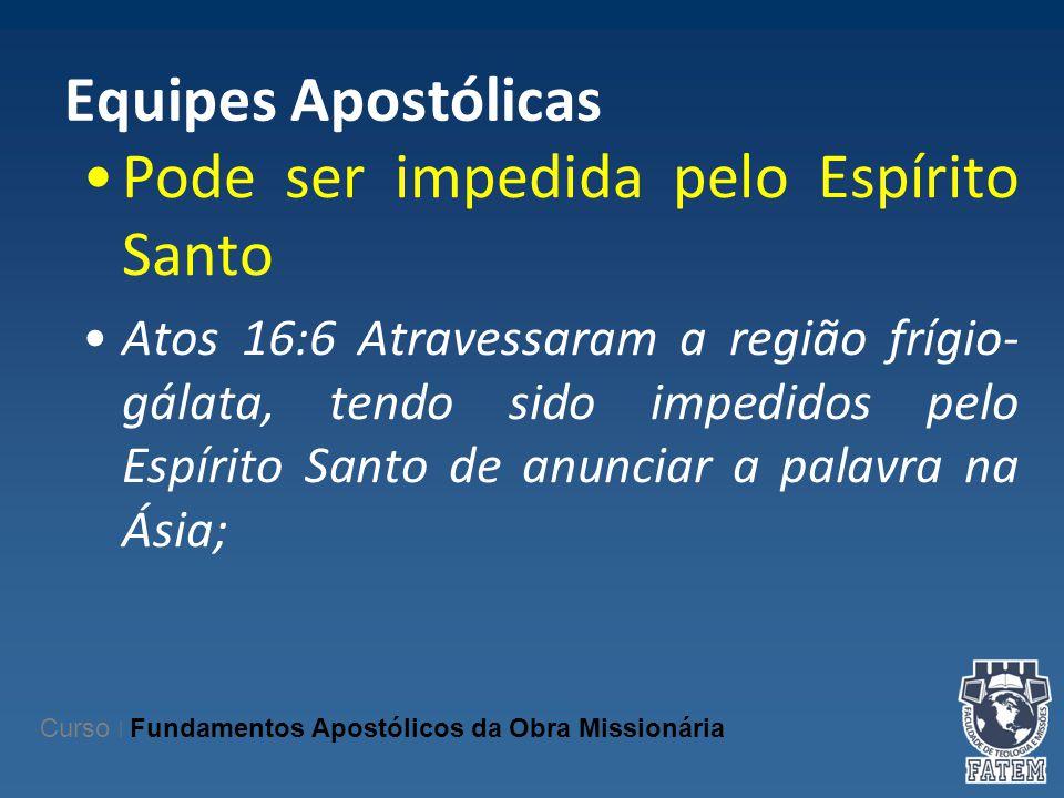 Equipes Apostólicas Pode ser impedida pelo Espírito Santo Atos 16:6 Atravessaram a região frígio- gálata, tendo sido impedidos pelo Espírito Santo de