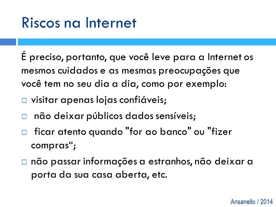 Ansanello / 2014 Riscos na Internet É preciso, portanto, que você leve para a Internet os mesmos cuidados e as mesmas preocupações que você tem no seu