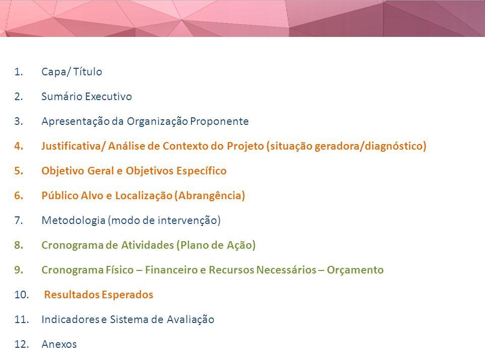 1.Capa/ Título 2.Sumário Executivo 3.Apresentação da Organização Proponente 4.Justificativa/ Análise de Contexto do Projeto (situação geradora/diagnóstico) 5.Objetivo Geral e Objetivos Específico 6.Público Alvo e Localização (Abrangência) 7.Metodologia (modo de intervenção) 8.Cronograma de Atividades (Plano de Ação) 9.Cronograma Físico – Financeiro e Recursos Necessários – Orçamento 10.