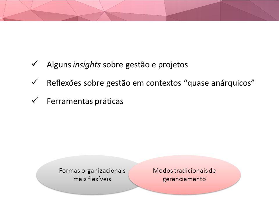 Alguns insights sobre gestão e projetos Reflexões sobre gestão em contextos quase anárquicos Ferramentas práticas Formas organizacionais mais flexíveis Modos tradicionais de gerenciamento