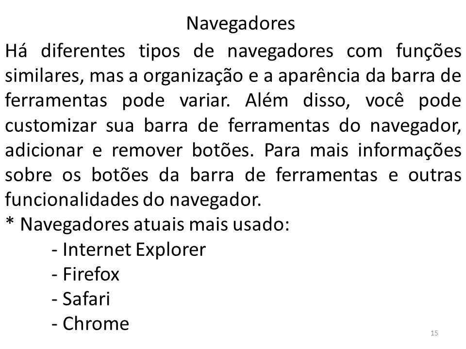 Há diferentes tipos de navegadores com funções similares, mas a organização e a aparência da barra de ferramentas pode variar. Além disso, você pode c