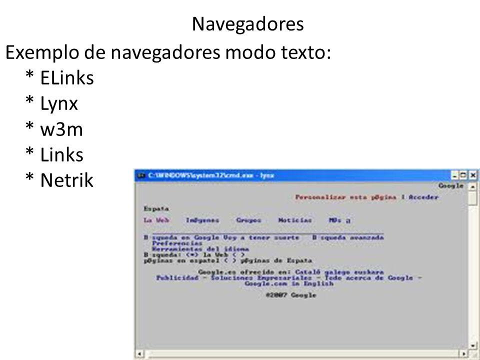 Exemplo de navegadores modo texto: * ELinks * Lynx * w3m * Links * Netrik 6 Navegadores
