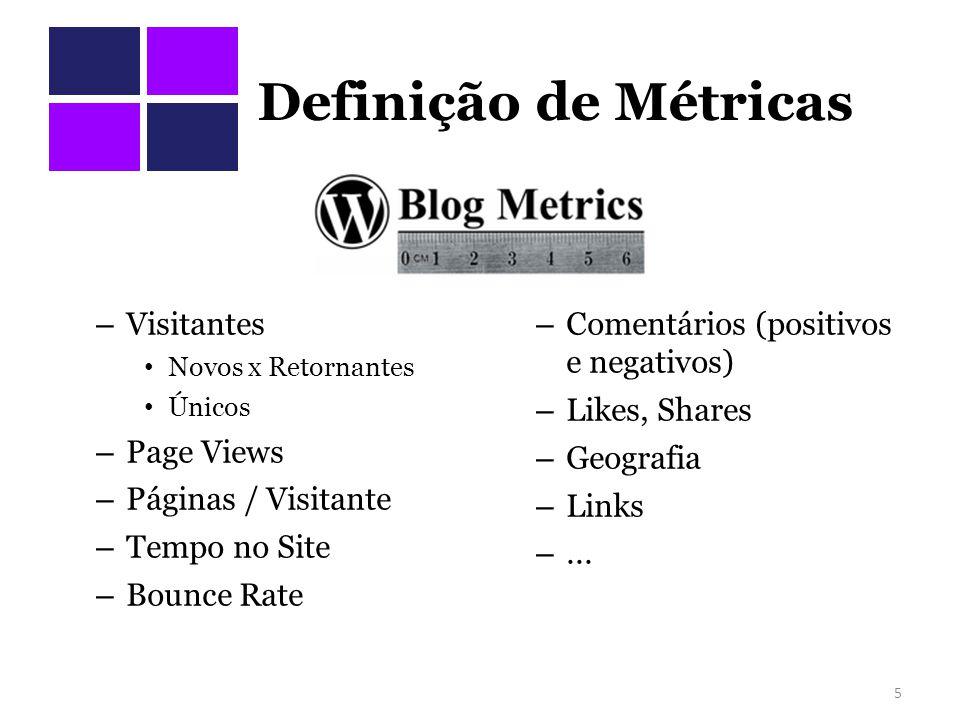Definição de Métricas – Visitantes Novos x Retornantes Únicos – Page Views – Páginas / Visitante – Tempo no Site – Bounce Rate – Comentários (positivos e negativos) – Likes, Shares – Geografia – Links –...