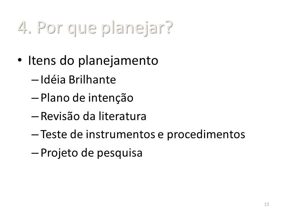 Itens do planejamento – Idéia Brilhante – Plano de intenção – Revisão da literatura – Teste de instrumentos e procedimentos – Projeto de pesquisa 13 4