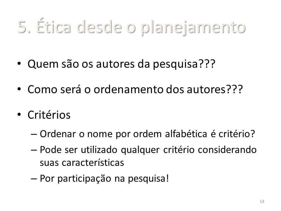 Quem são os autores da pesquisa??? Como será o ordenamento dos autores??? Critérios – Ordenar o nome por ordem alfabética é critério? – Pode ser utili