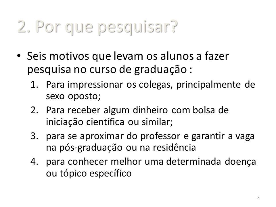 Seis motivos que levam os alunos a fazer pesquisa no curso de graduação: 5.