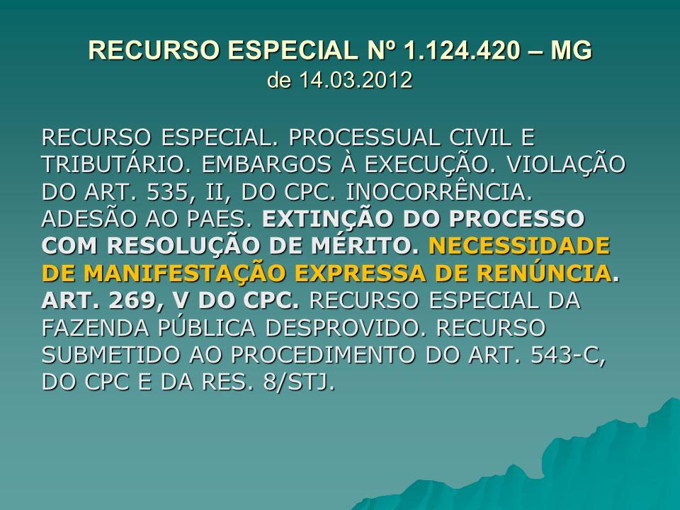 RECURSO ESPECIAL Nº 1.124.420 – MG de 14.03.2012 RECURSO ESPECIAL. PROCESSUAL CIVIL E TRIBUTÁRIO. EMBARGOS À EXECUÇÃO. VIOLAÇÃO DO ART. 535, II, DO CP