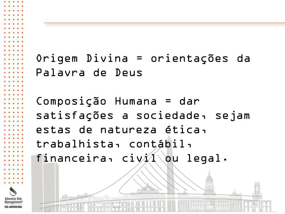Origem Divina = orientações da Palavra de Deus Composição Humana = dar satisfações a sociedade, sejam estas de natureza ética, trabalhista, contábil,