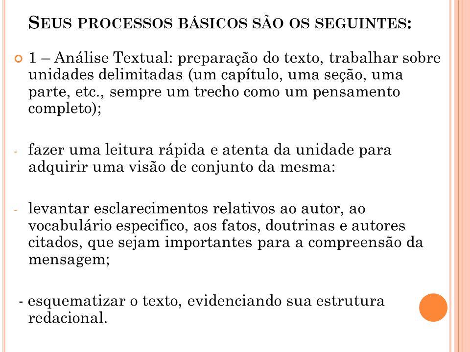 S EUS PROCESSOS BÁSICOS SÃO OS SEGUINTES : 1 – Análise Textual: preparação do texto, trabalhar sobre unidades delimitadas (um capítulo, uma seção, uma