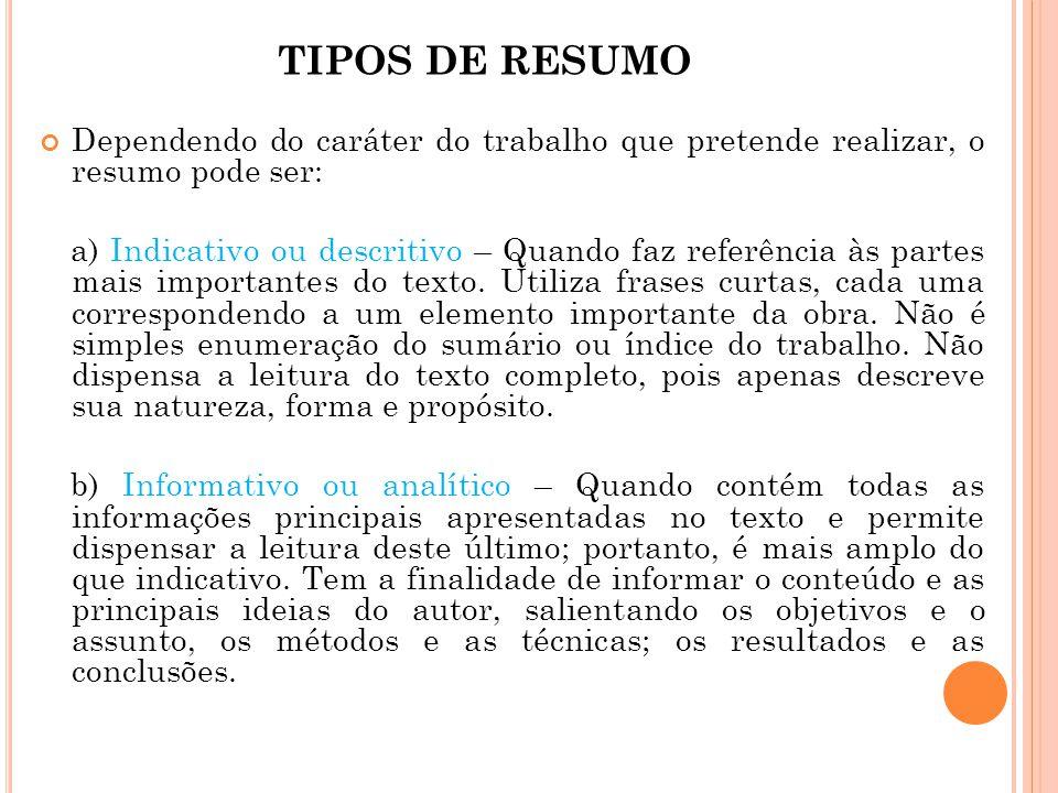 TIPOS DE RESUMO Dependendo do caráter do trabalho que pretende realizar, o resumo pode ser: a) Indicativo ou descritivo – Quando faz referência às par