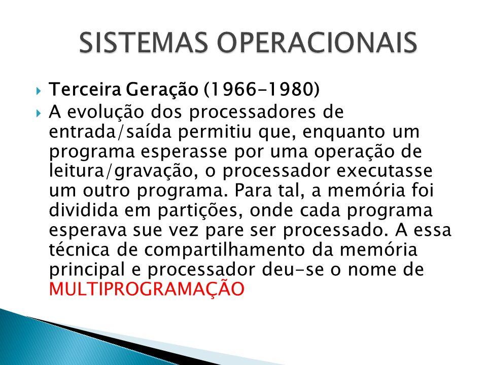  Terceira Geração (1966-1980)  A evolução dos processadores de entrada/saída permitiu que, enquanto um programa esperasse por uma operação de leitur