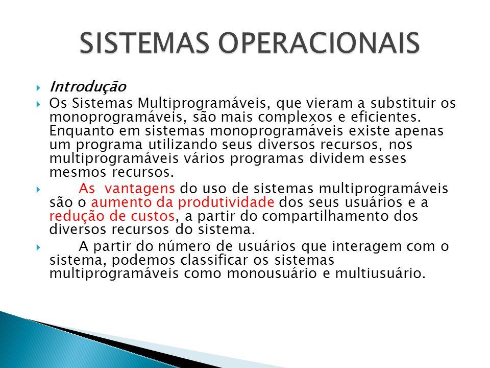  Introdução  Os Sistemas Multiprogramáveis, que vieram a substituir os monoprogramáveis, são mais complexos e eficientes. Enquanto em sistemas monop
