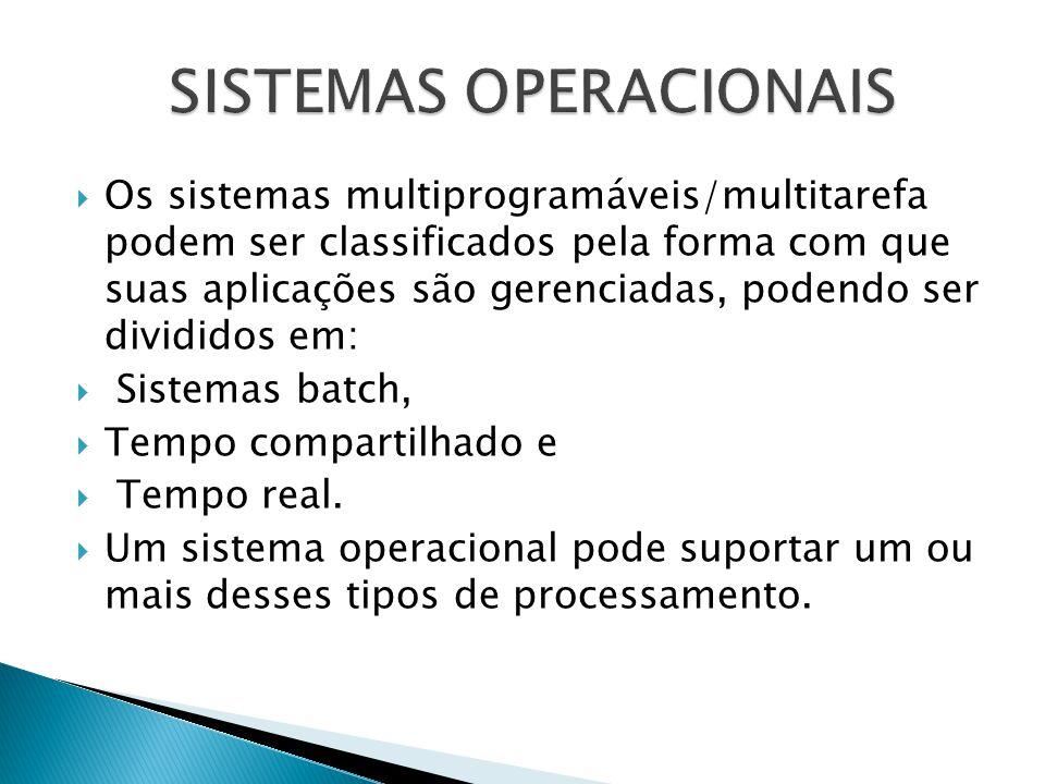  Os sistemas multiprogramáveis/multitarefa podem ser classificados pela forma com que suas aplicações são gerenciadas, podendo ser divididos em:  Si