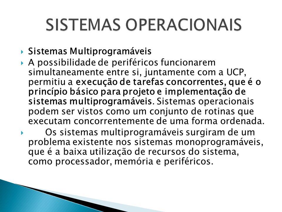  Sistemas Multiprogramáveis  A possibilidade de periféricos funcionarem simultaneamente entre si, juntamente com a UCP, permitiu a execução de taref