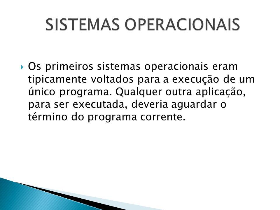  Os primeiros sistemas operacionais eram tipicamente voltados para a execução de um único programa. Qualquer outra aplicação, para ser executada, dev