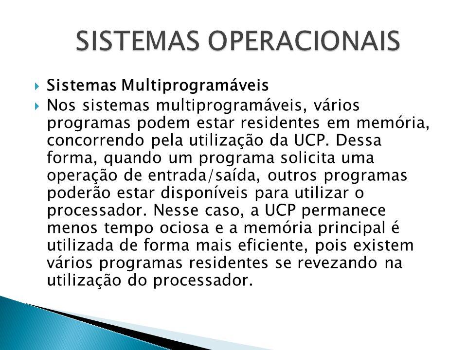  Sistemas Multiprogramáveis  Nos sistemas multiprogramáveis, vários programas podem estar residentes em memória, concorrendo pela utilização da UCP.