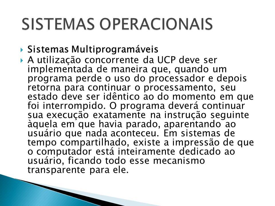  Sistemas Multiprogramáveis  A utilização concorrente da UCP deve ser implementada de maneira que, quando um programa perde o uso do processador e d