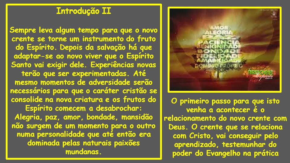 Introdução II Sempre leva algum tempo para que o novo crente se torne um instrumento do fruto do Espírito. Depois da salvação há que adaptar-se ao nov