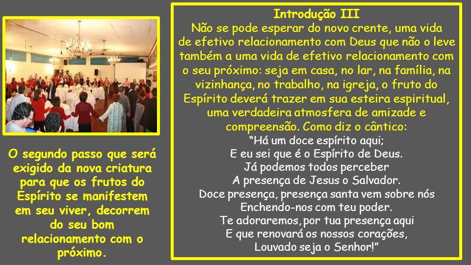 Introdução III Não se pode esperar do novo crente, uma vida de efetivo relacionamento com Deus que não o leve também a uma vida de efetivo relacioname