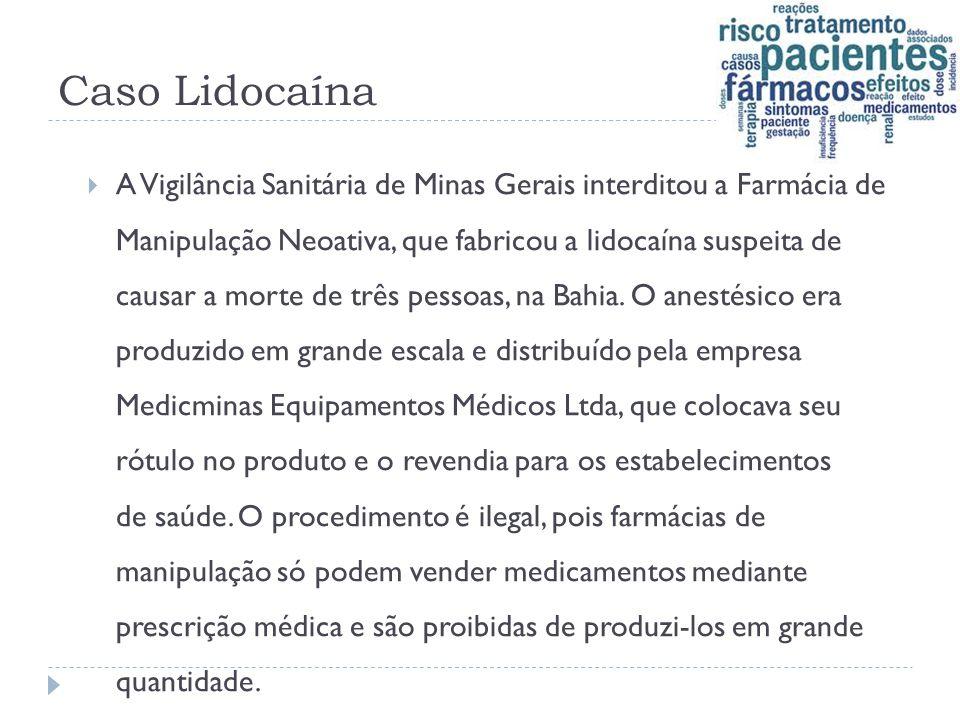Caso Lidocaína  A Vigilância Sanitária de Minas Gerais interditou a Farmácia de Manipulação Neoativa, que fabricou a lidocaína suspeita de causar a m