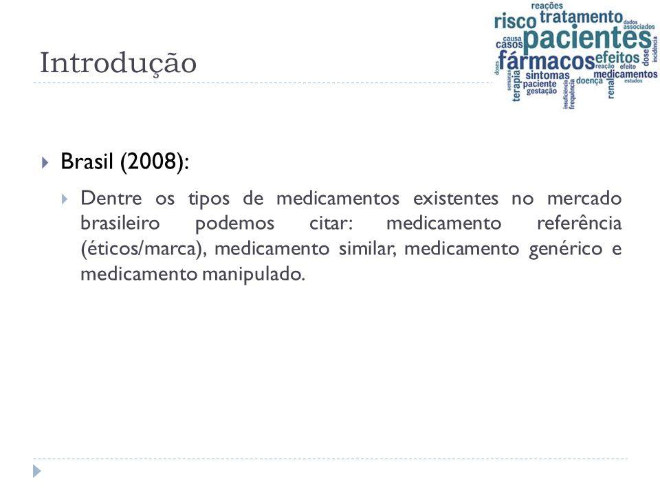 Introdução  Brasil (2008):  Dentre os tipos de medicamentos existentes no mercado brasileiro podemos citar: medicamento referência (éticos/marca), m
