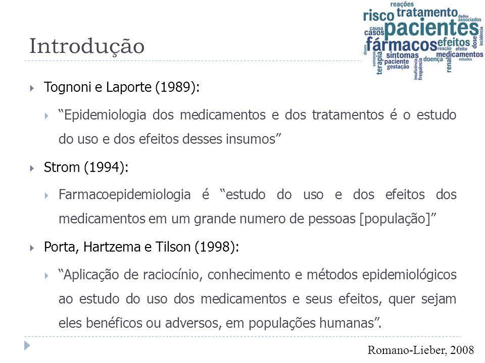 """Introdução  Tognoni e Laporte (1989):  """"Epidemiologia dos medicamentos e dos tratamentos é o estudo do uso e dos efeitos desses insumos""""  Strom (19"""
