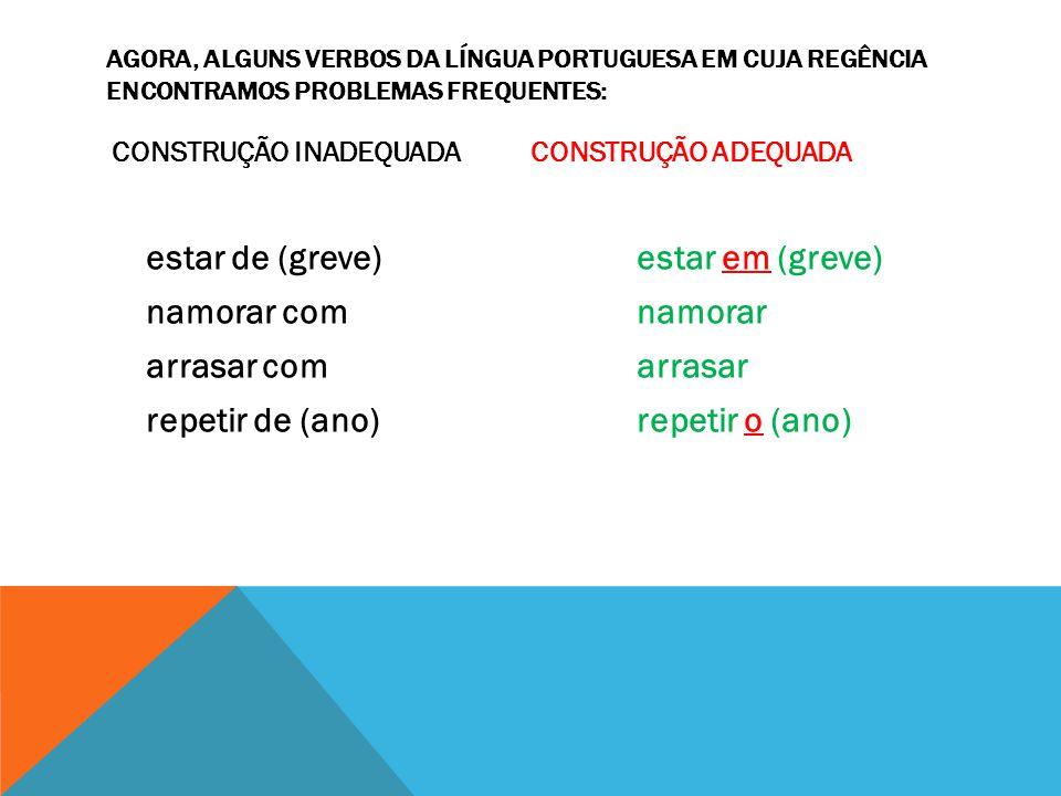 AGORA, ALGUNS VERBOS DA LÍNGUA PORTUGUESA EM CUJA REGÊNCIA ENCONTRAMOS PROBLEMAS FREQUENTES: CONSTRUÇÃO INADEQUADA CONSTRUÇÃO ADEQUADA estar de (greve