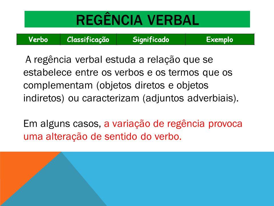 VerboClassificaçãoSignificadoExemplo A regência verbal estuda a relação que se estabelece entre os verbos e os termos que os complementam (objetos dir