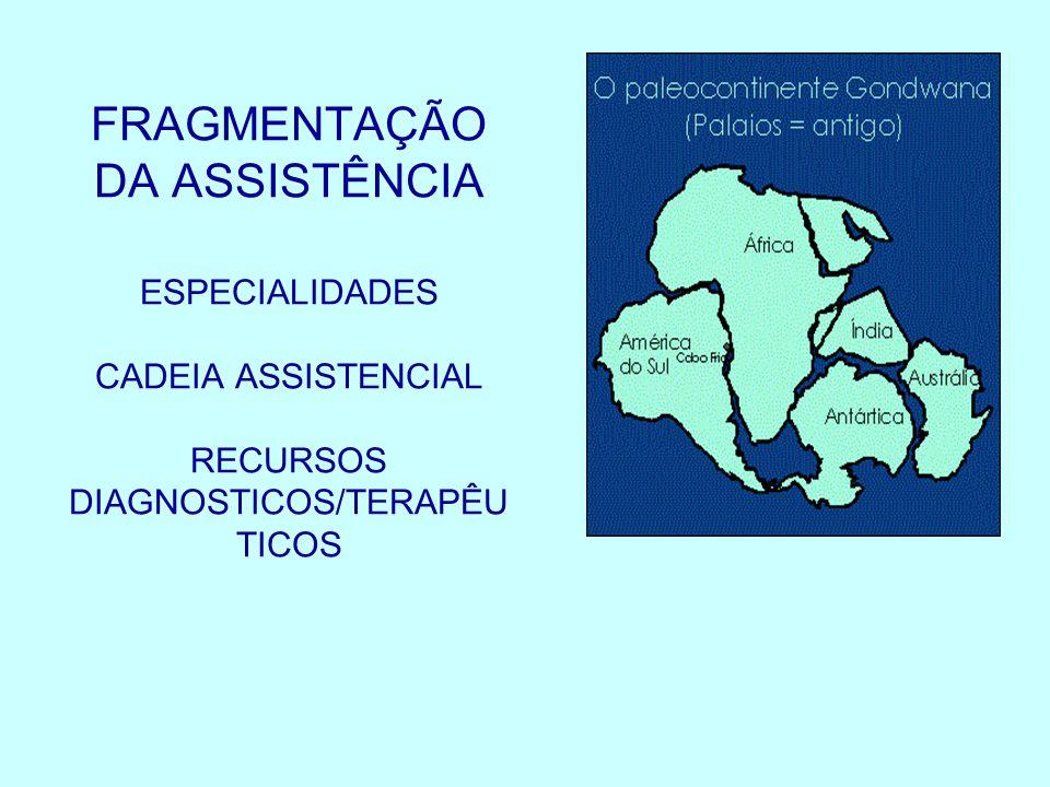 FRAGMENTAÇÃO DA ASSISTÊNCIA ESPECIALIDADES CADEIA ASSISTENCIAL RECURSOS DIAGNOSTICOS/TERAPÊU TICOS