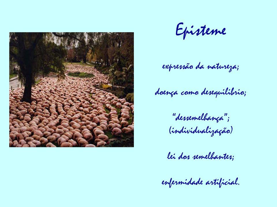 """Episteme expressão da natureza; doença como desequilibrio; """"dessemelhança""""; (individualização) lei dos semelhantes; enfermidade artificial."""
