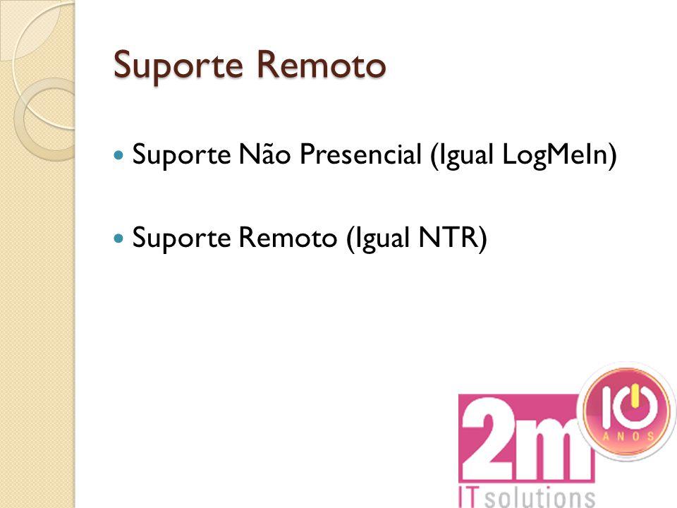 Suporte Remoto Suporte Não Presencial (Igual LogMeIn) Suporte Remoto (Igual NTR)