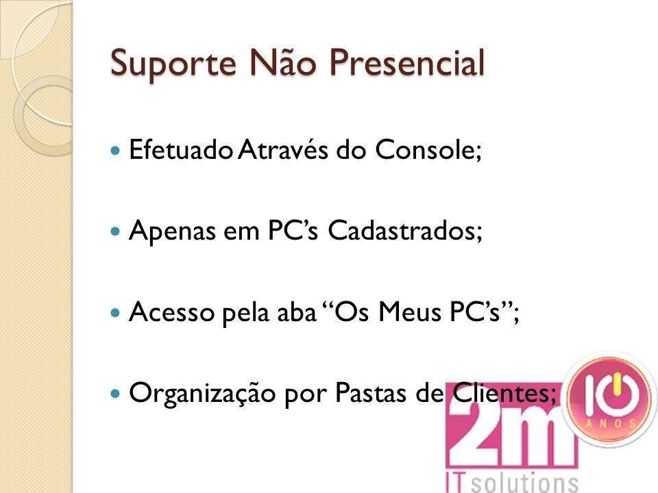 """Suporte Não Presencial Efetuado Através do Console; Apenas em PC's Cadastrados; Acesso pela aba """"Os Meus PC's""""; Organização por Pastas de Clientes;"""